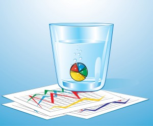 Vector illustration of pie chart pill in glass of water